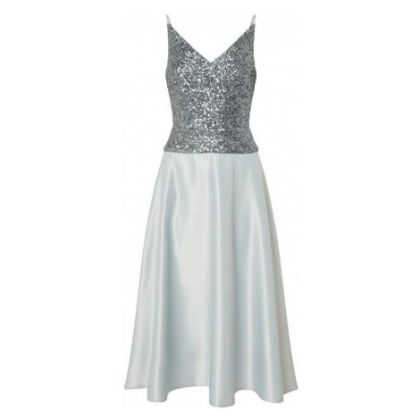 SWING Koktejlové šaty aqua modrá / stříbrně šedá