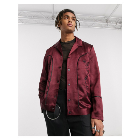 ASOS EDITION western revere harrington jacket in burgundy satin with embroidery-Red