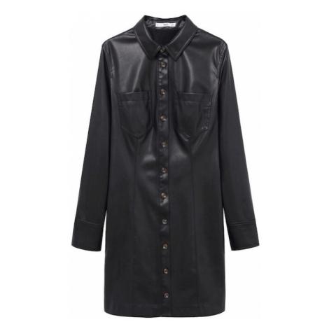 MANGO Košilové šaty 'Nastia' černá