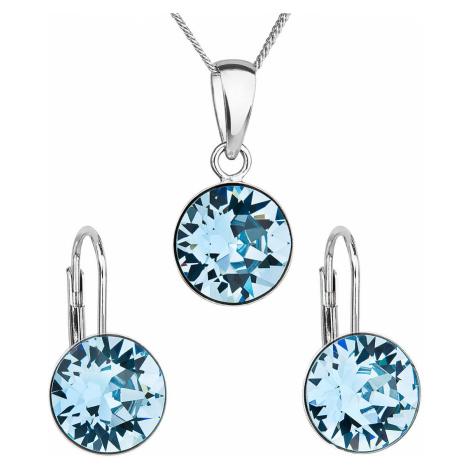 Sada šperků s krystaly Swarovski náušnice, řetízek a přívěsek modré kulaté 39140.3 aqua Victum