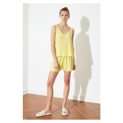 Trendyol Yellow Lace Detailed Woven Pyjama Set