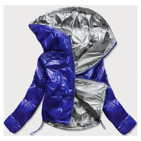 Světle modrá lesklá prošívaná dámská bunda s kapucí (B9560) modrá