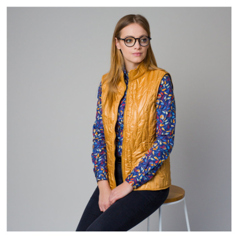 Dámská prošívaná vesta hořčicové barvy 12205 Willsoor