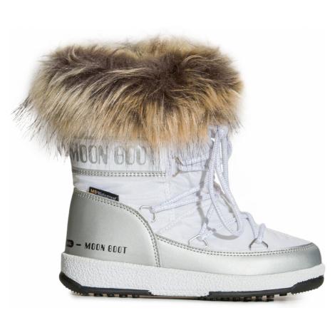 Boty Moon Boot JR GIRL MONACO LOW WP bílá|stříbrná