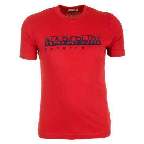 Pánské červené tričko Napapijri s velkým vyšitým logem