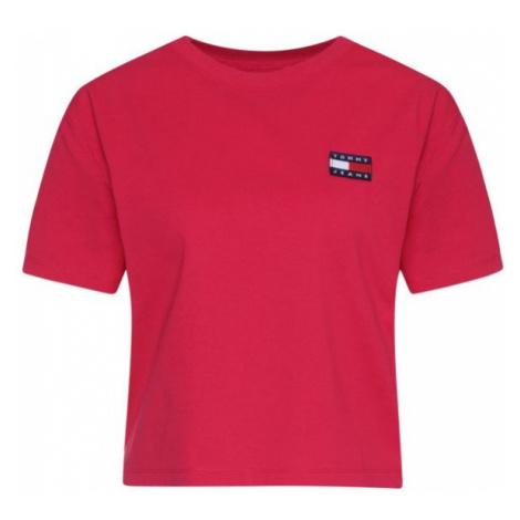Tommy Hilfiger Tommy Jeans dámské tmavě růžové tričko CROPPED BADGE TEE