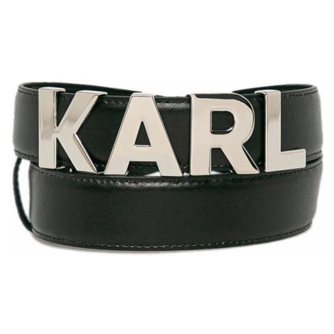 Černý kožený pásek s kovovým logem - KARL LAGERFELD