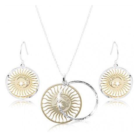 Set ze stříbra 925, zdvojený kruh - slunce, měsíc a hvězda Šperky eshop