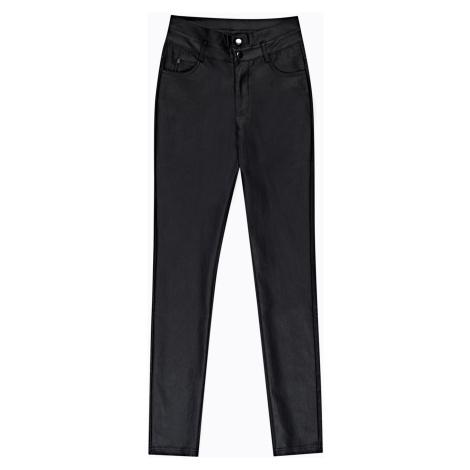 GATE Kalhoty skinny z imitace kůže a vysokým pasem