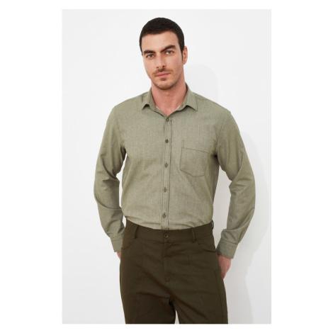 Trendyol Green Men's Shirt Collar Single Pocket Regular Shirt