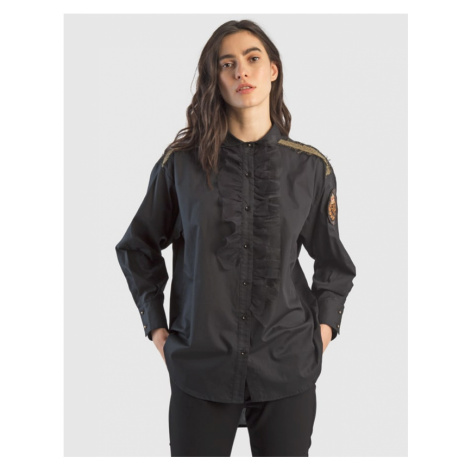 Košile La Martina Woman Cotton Popeline Shirt - Černá