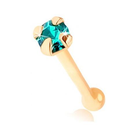 Piercing do nosu ve žlutém 9K zlatě - kulatý zirkonek světle modré barvy Šperky eshop