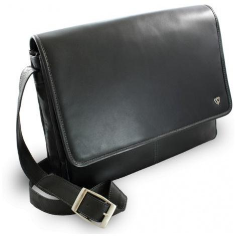 Černá kožená taška na notebook Laurien Arwel
