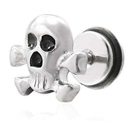 Falešný piercing pirátska lebka - fake plug Šperky eshop