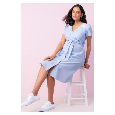 Světle modré zavinovací těhotenské šaty Peggy Seraphine
