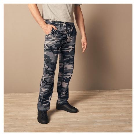 Blancheporte Meltonové kalhoty, rovný spodní lem šedá vojenský vzor