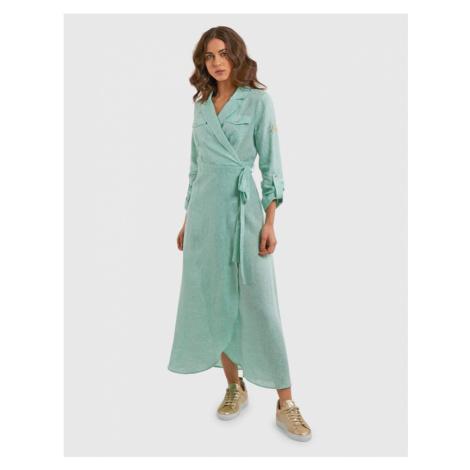 Šaty La Martina Woman Linen Dress L/S - Zelená
