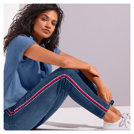 Blancheporte 7/8 džíny s barevnými lampasy modrá