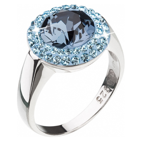 Evolution Group Stříbrný prsten s krystaly modrý kulatý 35025.3