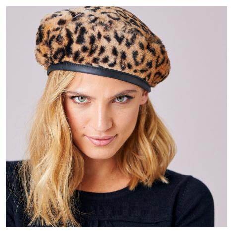 Blancheporte Baret s nepravou kožešinou leopard