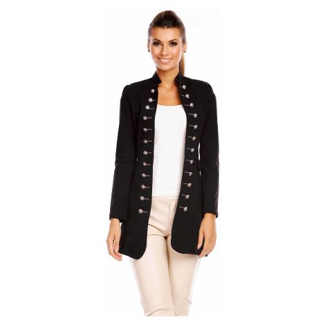 Dámský kabát blazer dlouhý černý - / - Made in ITALY