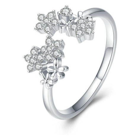 Linda's Jewelry Stříbrný prsten Zirkonové Květinky Ag 925/1000 IPR057 Velikost: Univerzální