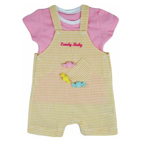 Dívčí kalhoty s laclem a tričko Candy, Růžová, Žlutá