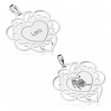 Stříbrný 925 přívěsek, ploché srdíčko s ornamenty, znamení LEV Šperky eshop