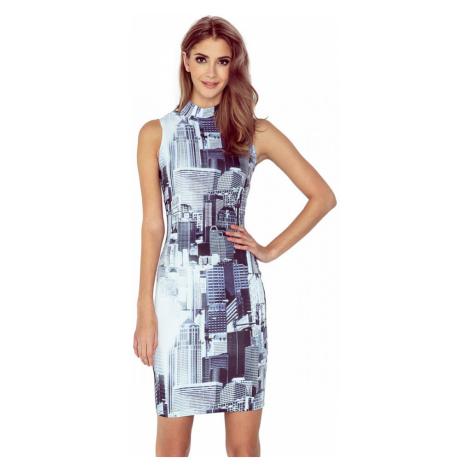 MORIMIA šaty dámské MM 002-1 s malým rolákem motiv město