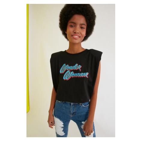 Trendyol Black Printed Wonder Woman Licensed Knitted T-Shirt