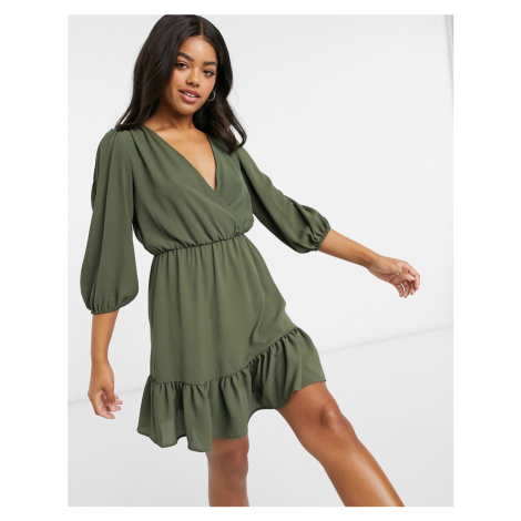 ASOS DESIGN wrap front frill hem mini tea dress with puff sleeves in khaki-Green