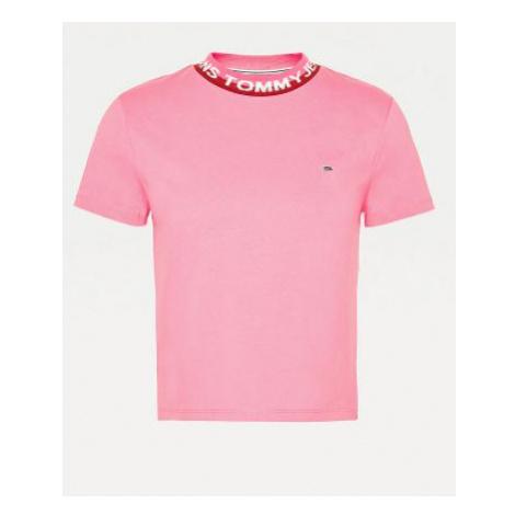 Tommy Hilfiger Tommy Jeans dámské růžové tričko TJW BRANDED RIB TEE