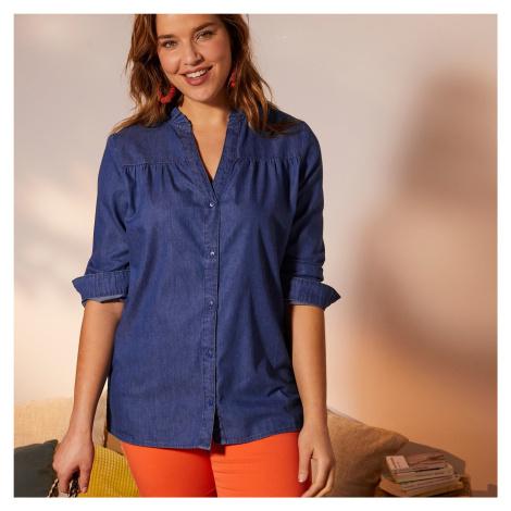 Blancheporte Džínová košile, zvlněný výstřih modrá