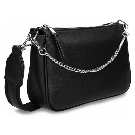 Černá dámská koženková kabelka se stříbrným řetízkem Baťa