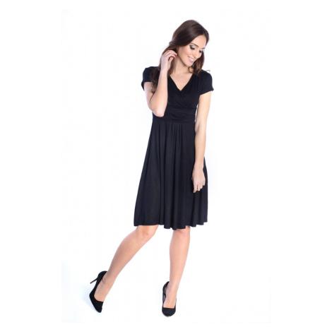 Delší vycházkové šaty s krátkým rukávem barva černá