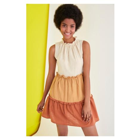 Trendyol Camel Color Block Dress