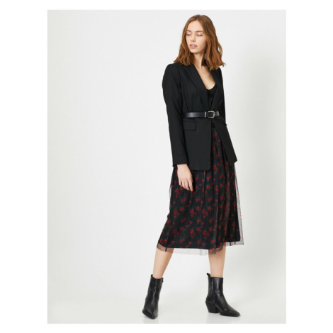 Koton Floral Pattern Tulle Detail Midi Skirt