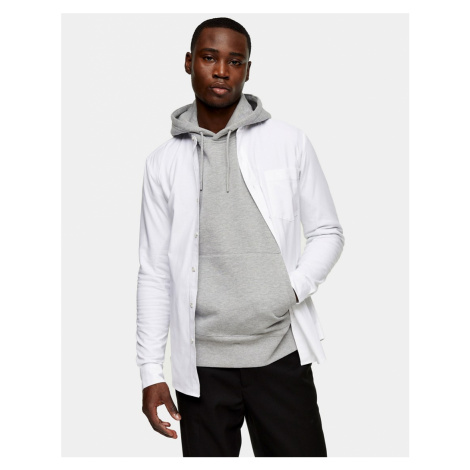 Topman stand collar stretch skinny oxford shirt in white
