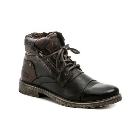 Tom Tailor 9082302 černo hnědé pánské zimní boty Černá