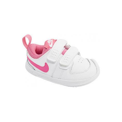 Bílo-růžové dětské tenisky na suchý zip Nike