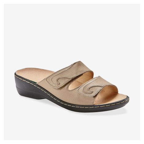 Blancheporte Kožené pantofle na suchý zip béžová/zlatá