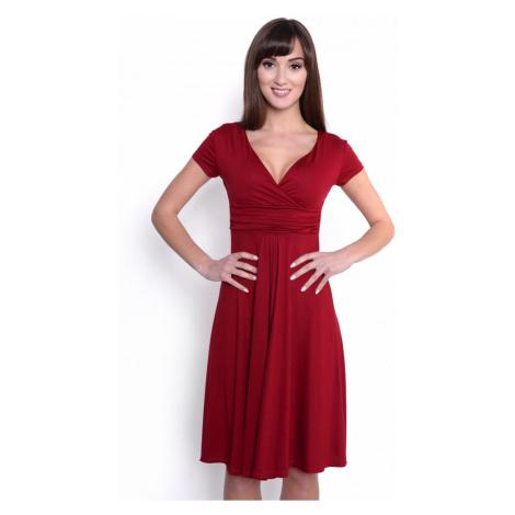 Delší vycházkové šaty s krátkým rukávem barva bordó Oxyd