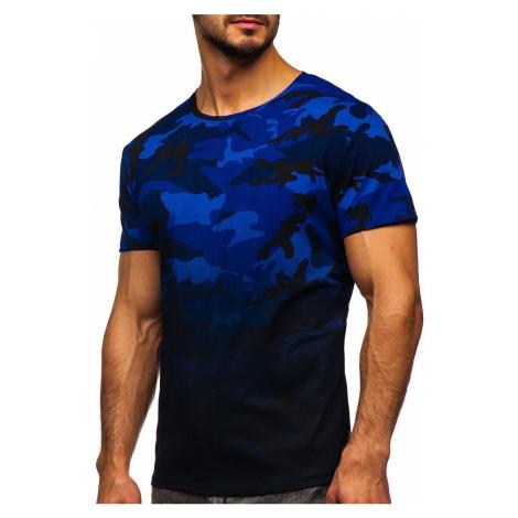 Tmavě modré pánské maskáčové tričko s potiskem Bolf S808 J.STYLE