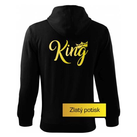 King Queen Rodinná zlatá - Mikina s kapucí na zip trendy zipper