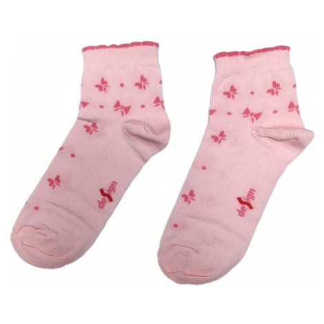 Turgadesign Růžové kotníkové dámské ponožky Mašle