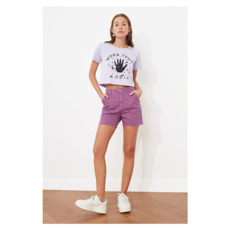 Trendyol Purple Pocket Detailed Denim Shorts
