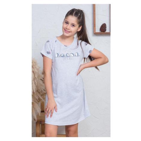 Dětská noční košile s krátkým rukávem Ježci, šedá Vienetta Secret