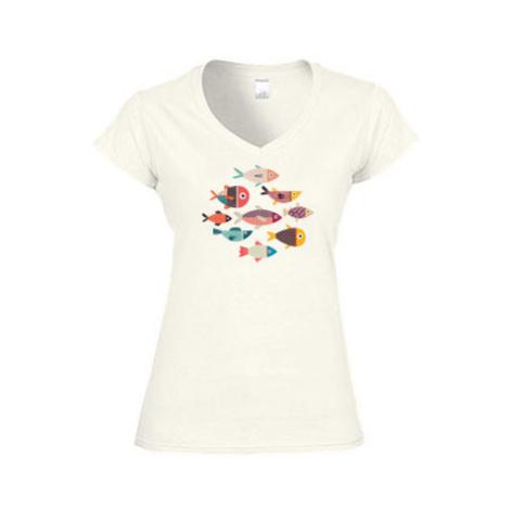 Dámské tričko V-výstřih Rybičky