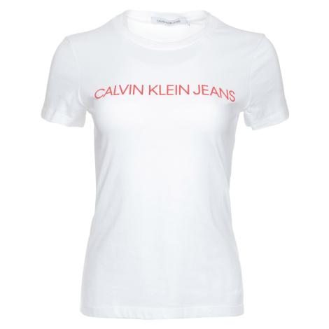 Dámské bílé tričko s lesklým plastickým potiskem Calvin Klein Jeans