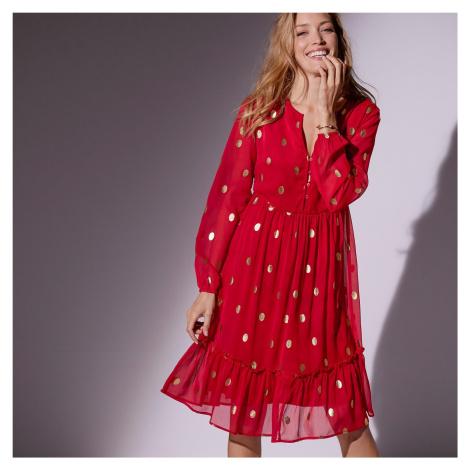 Blancheporte Voálové šaty s puntíky puntíky červená/zlatá